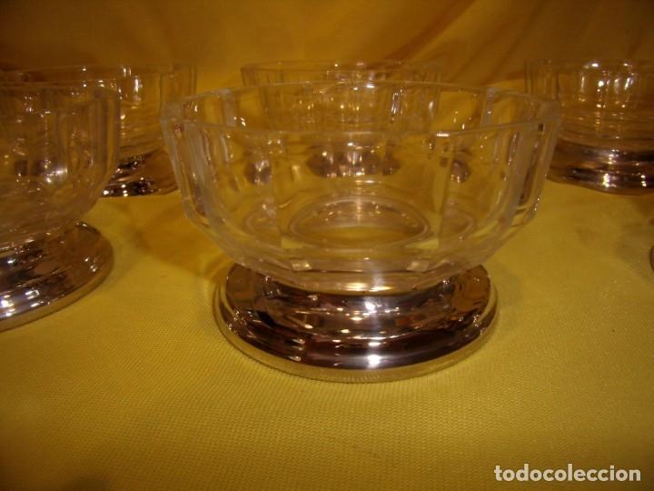 Antigüedades: Juego Macedonia cristal 24 % plomo, pie de plata, helado, años 80, Italia, 6 cuencosNuevo sin usar. - Foto 2 - 177643460