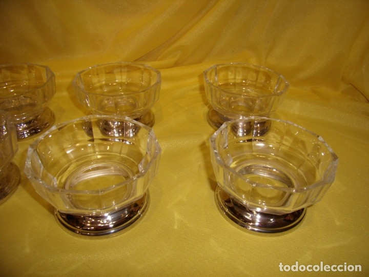 Antigüedades: Juego Macedonia cristal 24 % plomo, pie de plata, helado, años 80, Italia, 6 cuencosNuevo sin usar. - Foto 4 - 177643460