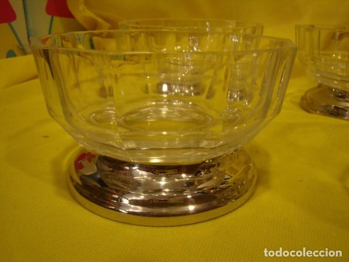 Antigüedades: Juego Macedonia cristal 24 % plomo, pie de plata, helado, años 80, Italia, 6 cuencosNuevo sin usar. - Foto 6 - 177643460