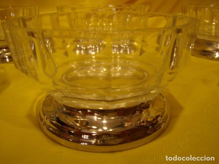 Antigüedades: Juego Macedonia cristal 24 % plomo, pie de plata, helado, años 80, Italia, 6 cuencosNuevo sin usar. - Foto 7 - 177643460