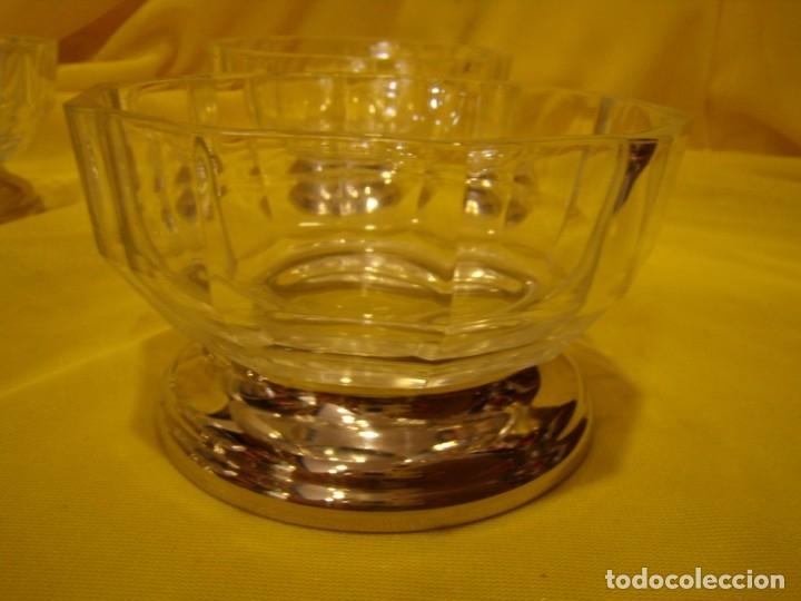 Antigüedades: Juego Macedonia cristal 24 % plomo, pie de plata, helado, años 80, Italia, 6 cuencosNuevo sin usar. - Foto 8 - 177643460