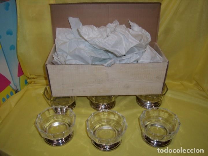 Antigüedades: Juego Macedonia cristal 24 % plomo, pie de plata, helado, años 80, Italia, 6 cuencosNuevo sin usar. - Foto 11 - 177643460