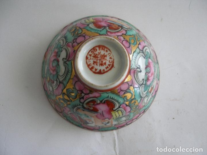 Antigüedades: Cuenco porcelana china pintado a mano Fabricado en Macao - Foto 3 - 51355962