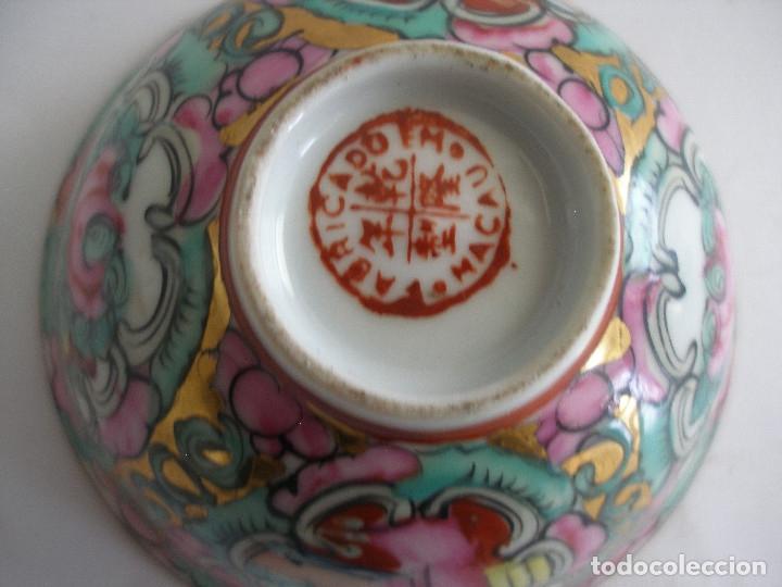 Antigüedades: Cuenco porcelana china pintado a mano Fabricado en Macao - Foto 4 - 51355962