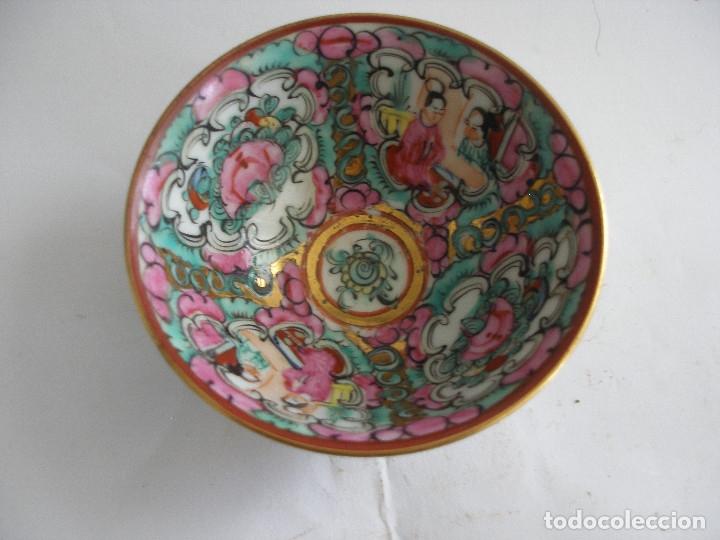 Antigüedades: Cuenco porcelana china pintado a mano Fabricado en Macao - Foto 5 - 51355962
