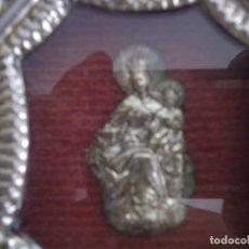 Antigüedades: VIEJO ORATORIO DE LA VIRGEN DEL CARMEN EN ALPACA-PLATA. MEDIDAS DE 110X100 MM. . Lote 177663419