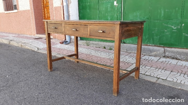 Antigüedades: Escritorio antiguo estilo industrial. Mesa tocinera antigua. Mesa de taller cocina vintage. - Foto 5 - 194156236