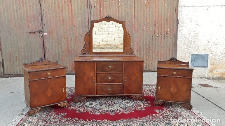 Antigüedades: 2 dos mesillas de dormitorio antiguas estilo art decó. Pareja de mesitas de noche antiguas vintage. - Foto 2 - 177668248