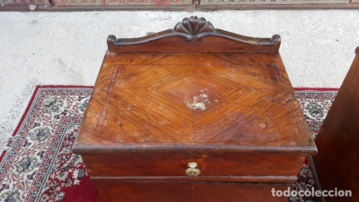 Antigüedades: 2 dos mesillas de dormitorio antiguas estilo art decó. Pareja de mesitas de noche antiguas vintage. - Foto 12 - 177668248