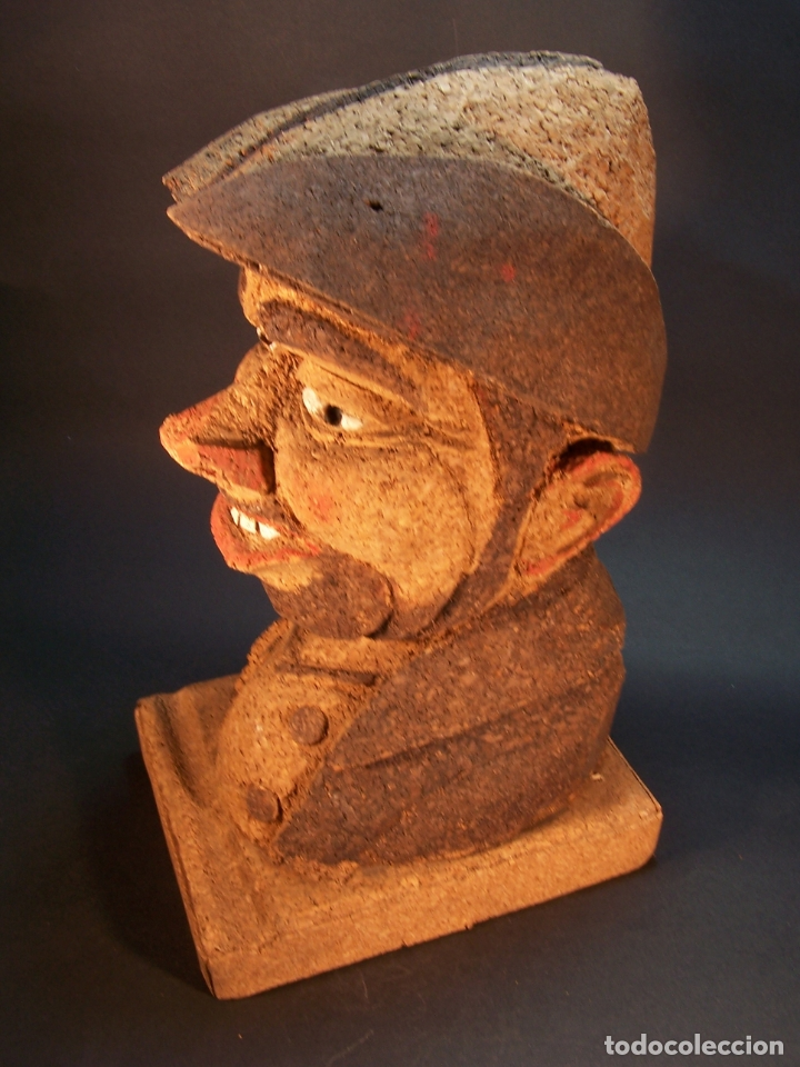 Antigüedades: Divertido sujetalibros de busto de sancho panza en corcho. Hecho y pintado a mano. 27 cm. - Foto 2 - 177669877