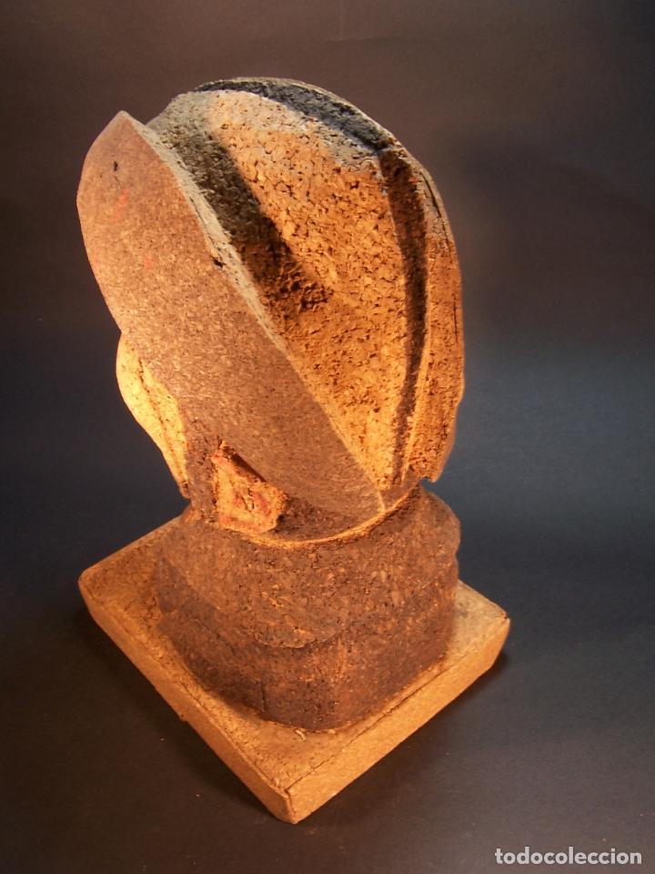 Antigüedades: Divertido sujetalibros de busto de sancho panza en corcho. Hecho y pintado a mano. 27 cm. - Foto 3 - 177669877
