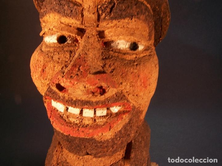 Antigüedades: Divertido sujetalibros de busto de sancho panza en corcho. Hecho y pintado a mano. 27 cm. - Foto 6 - 177669877