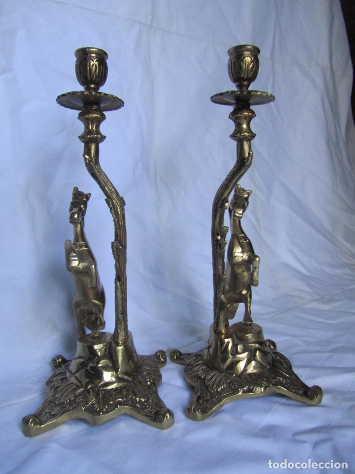 Antigüedades: Magnífica pareja de portavelas en bronce con caballos (32 cm de altura) - Foto 12 - 177671009