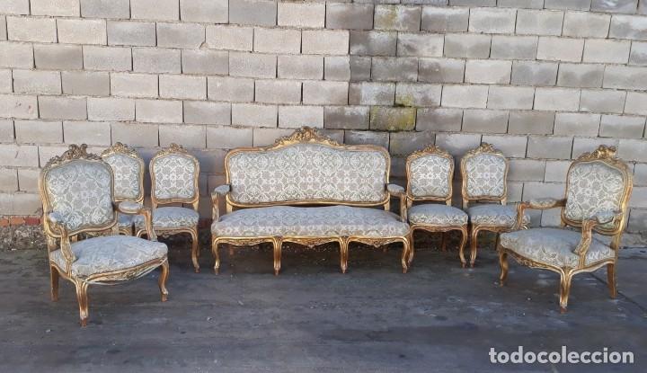 Antigüedades: Sofá antiguo estilo Luis XV ORIGINAL. Tresillo canapé antiguo estilo Luis XV pan de oro ORIGINAL. - Foto 2 - 177673973