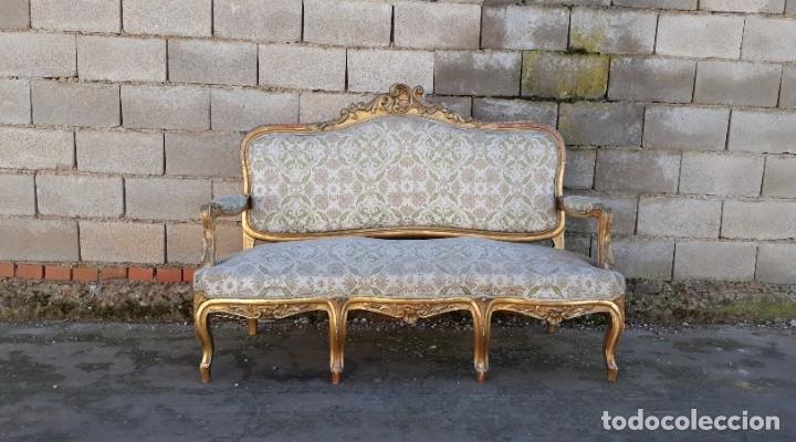 Antigüedades: Sofá antiguo estilo Luis XV ORIGINAL. Tresillo canapé antiguo estilo Luis XV pan de oro ORIGINAL. - Foto 3 - 177673973