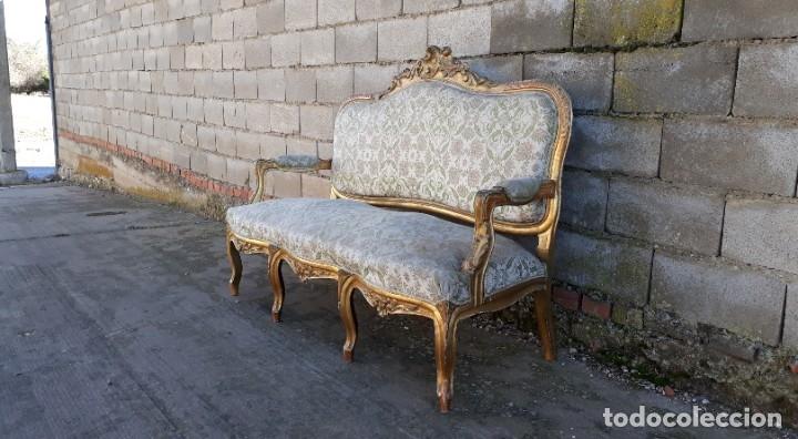 Antigüedades: Sofá antiguo estilo Luis XV ORIGINAL. Tresillo canapé antiguo estilo Luis XV pan de oro ORIGINAL. - Foto 4 - 177673973