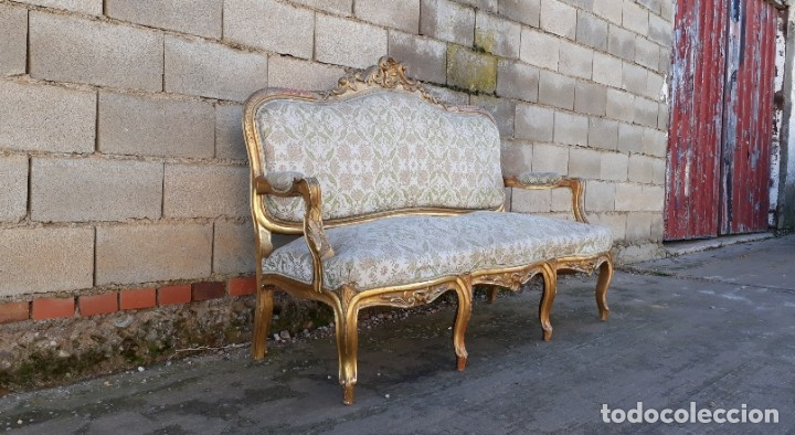 Antigüedades: Sofá antiguo estilo Luis XV ORIGINAL. Tresillo canapé antiguo estilo Luis XV pan de oro ORIGINAL. - Foto 5 - 177673973