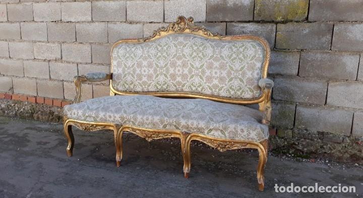 Antigüedades: Sofá antiguo estilo Luis XV ORIGINAL. Tresillo canapé antiguo estilo Luis XV pan de oro ORIGINAL. - Foto 6 - 177673973