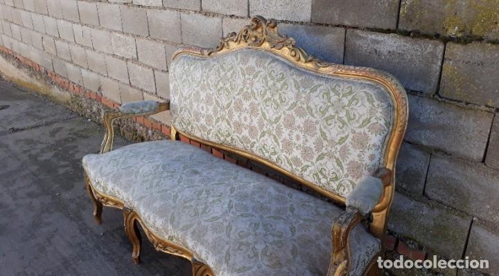 Antigüedades: Sofá antiguo estilo Luis XV ORIGINAL. Tresillo canapé antiguo estilo Luis XV pan de oro ORIGINAL. - Foto 7 - 177673973