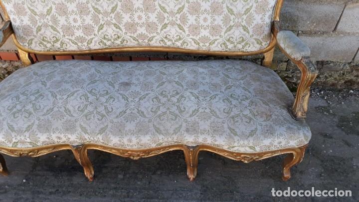 Antigüedades: Sofá antiguo estilo Luis XV ORIGINAL. Tresillo canapé antiguo estilo Luis XV pan de oro ORIGINAL. - Foto 8 - 177673973