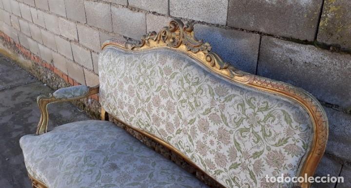 Antigüedades: Sofá antiguo estilo Luis XV ORIGINAL. Tresillo canapé antiguo estilo Luis XV pan de oro ORIGINAL. - Foto 10 - 177673973