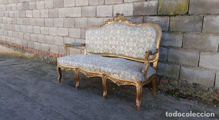 Antigüedades: Tresillo antiguo estilo Luis XV. Sofá antiguo + 2 sillones antiguos estilo Luis XV. - Foto 4 - 177674177