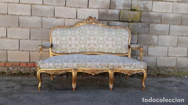 Antigüedades: Tresillo antiguo estilo Luis XV. Sofá antiguo + 2 sillones antiguos estilo Luis XV. - Foto 5 - 177674177