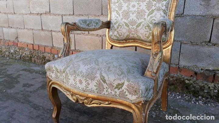 Antigüedades: Tresillo antiguo estilo Luis XV. Sofá antiguo + 2 sillones antiguos estilo Luis XV. - Foto 9 - 177674177