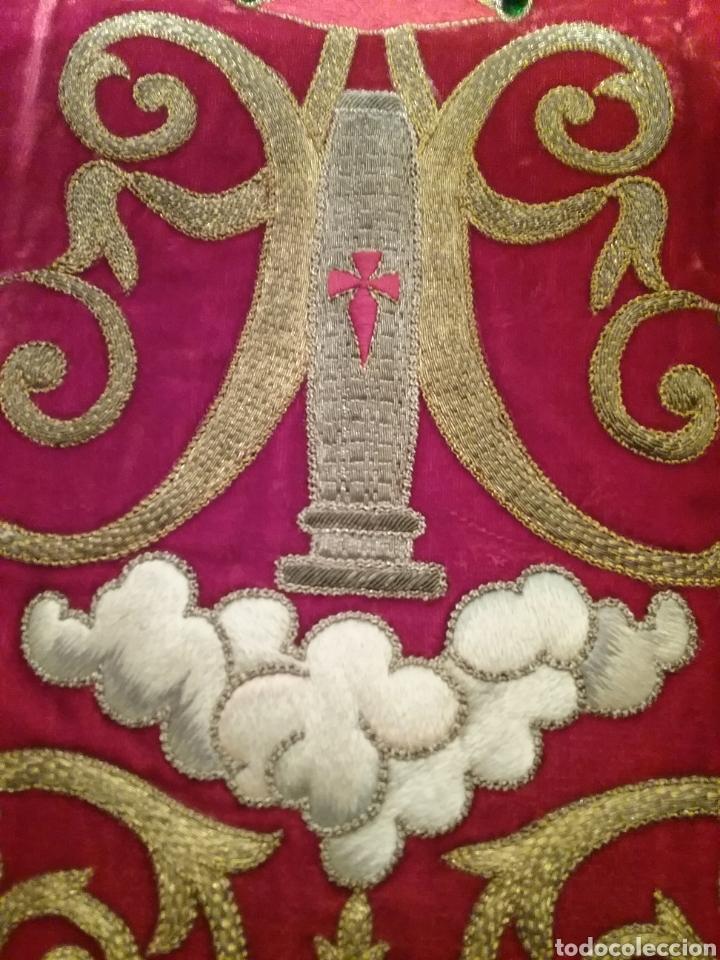 Antigüedades: Espectacular manto de la Virgen del Pilar bordado en hilo de oro y pedreria - Foto 5 - 177674868