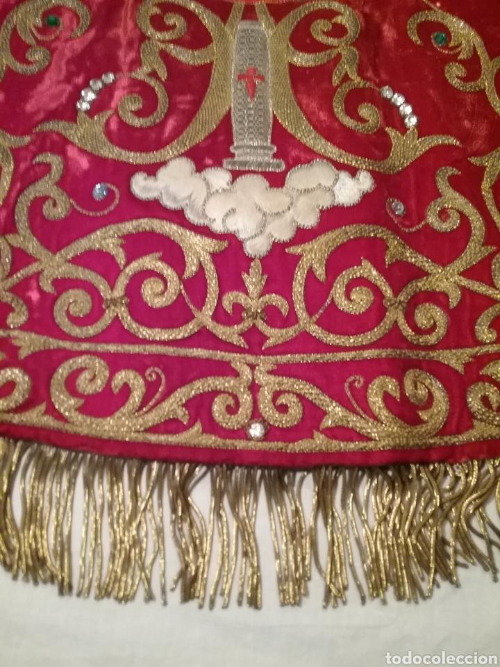 Antigüedades: Espectacular manto de la Virgen del Pilar bordado en hilo de oro y pedreria - Foto 6 - 177674868