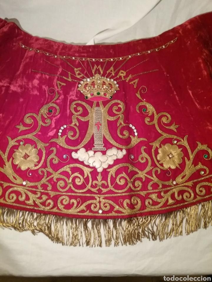 Antigüedades: Espectacular manto de la Virgen del Pilar bordado en hilo de oro y pedreria - Foto 8 - 177674868
