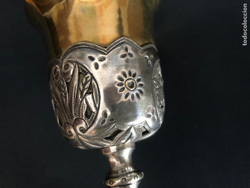 Antigüedades: Precioso y coqueto cáliz del S. XIX con su patena - Foto 12 - 177696724