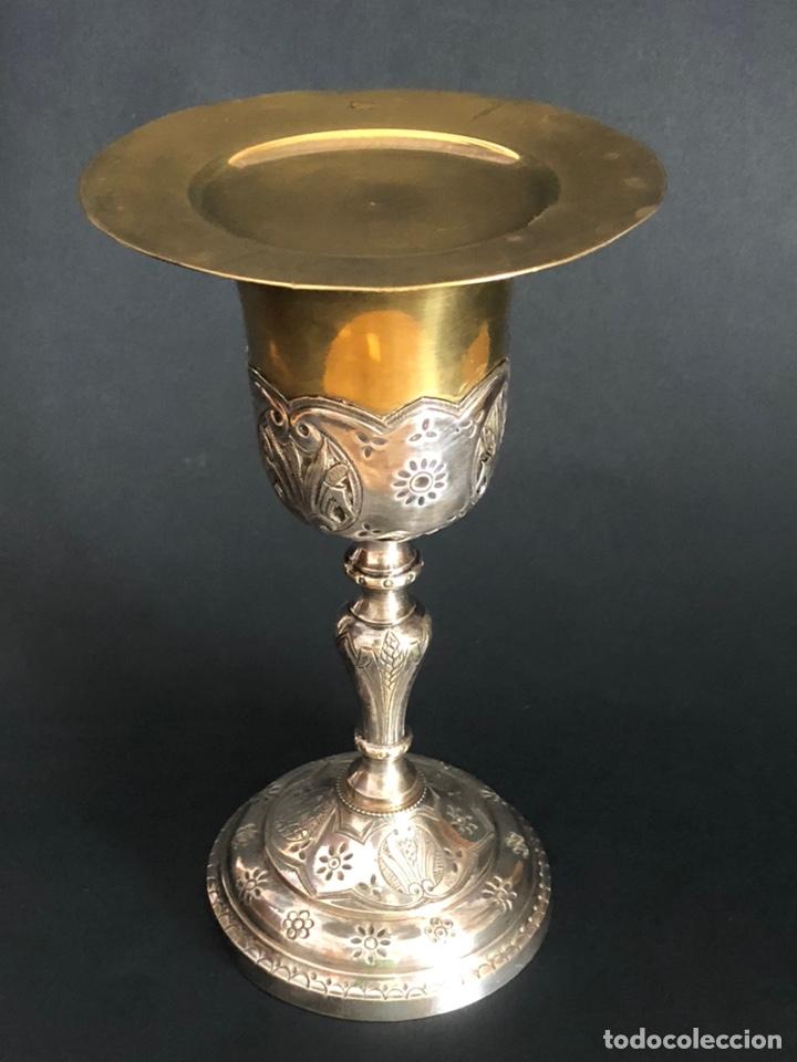 Antigüedades: Precioso y coqueto cáliz del S. XIX con su patena - Foto 21 - 177696724