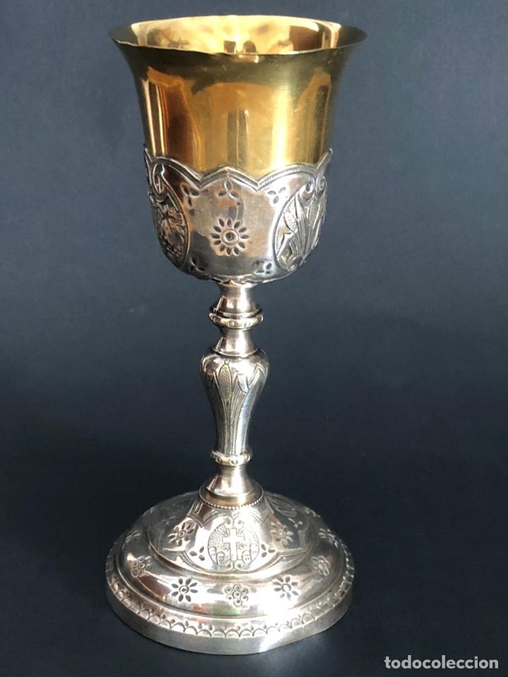 Antigüedades: Precioso y coqueto cáliz del S. XIX con su patena - Foto 24 - 177696724