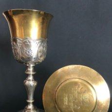 Antigüedades: PRECIOSO Y COQUETO CÁLIZ DEL S. XIX CON SU PATENA. Lote 177696724