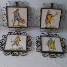 Antigüedades: INTERESANTE BALDOSA AZULEJO LOTE DE 4 AZULEJOS CERAMICA CON MARCO FORJADO. Lote 177720508