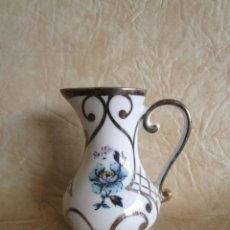 Antigüedades: ANTIGUO JARRON DE PORCELANA Y PLATA DE BOHEMIA. Lote 140124502