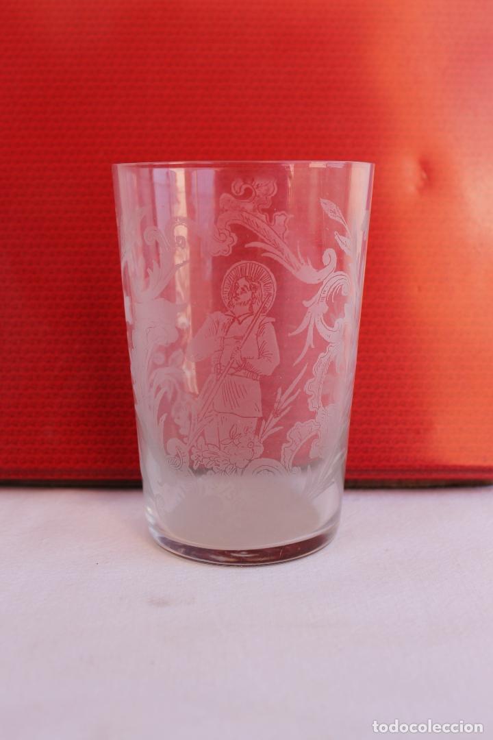 VASO DE CRISTAL GRABADO AL ACIDO SAN ISIDRO (Antigüedades - Cristal y Vidrio - La Granja)