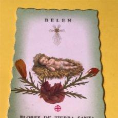 Antigüedades: ESTAMPA BELEN NIÑO JESUS RELIQUIA FLORES DE TIERRA SANTA TOCADAS AL SANTO PESEBRE. Lote 177738848