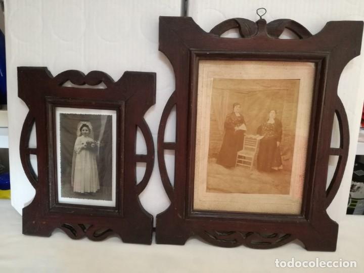 Antigüedades: JUEGO DE DOS PORTAFOTOS MODERNISTAS CON FOTOS AUTENTICAS. - Foto 2 - 177746249