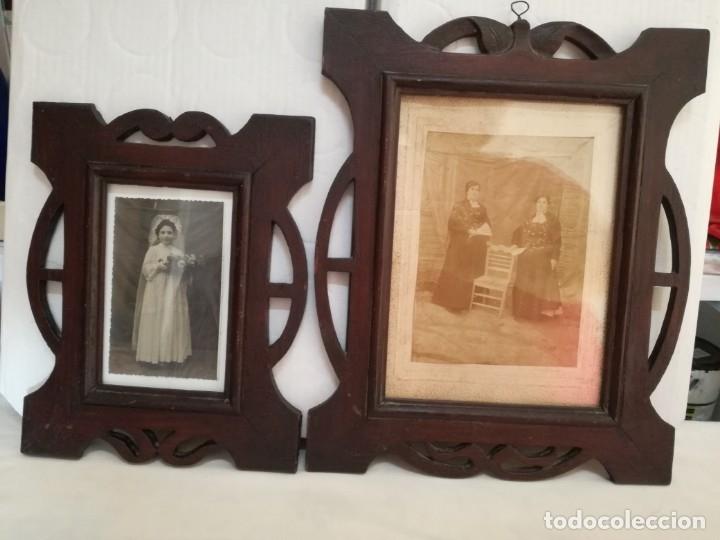 Antigüedades: JUEGO DE DOS PORTAFOTOS MODERNISTAS CON FOTOS AUTENTICAS. - Foto 4 - 177746249