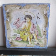 Antigüedades: AZULEJO ANTIGUO PINTADO SAN JUANITO. Lote 177750160