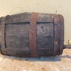 Antigüedades: BARRIL OVALADO CON GRIFO. MADERA ROBLE. ANTIGUO. DECORACIÓN. Lote 177766035