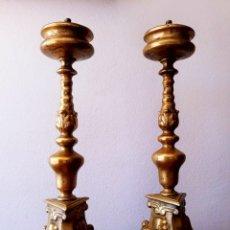 Antigüedades: CANDELEROS ESPAÑOLES SIGLO XIX. BRONCE. Lote 177770010