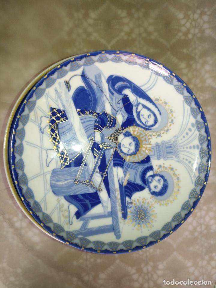 Antigüedades: COLECCION 7 PLATO PORCELANA SANTA CLARA NAVIDAD NACIMIENTO GRUPO DE EMPRESAS ÁLVAREZ VIGO - Foto 2 - 213129558