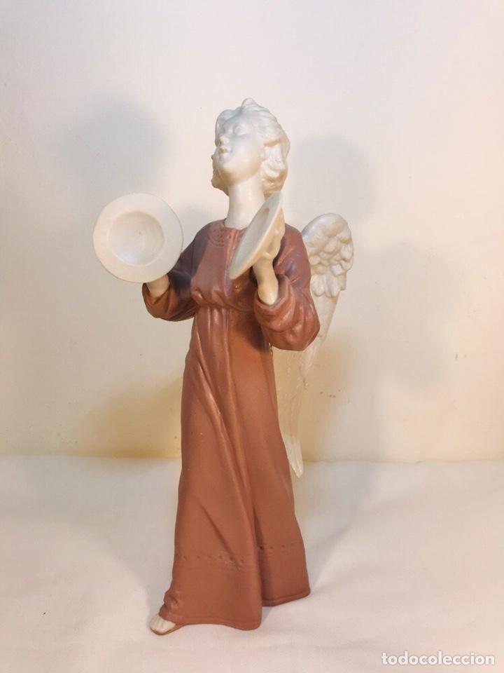 Antigüedades: Figura Porcelana-España- Algora - Angel músico Platillos- 23 cm - Foto 6 - 177775033