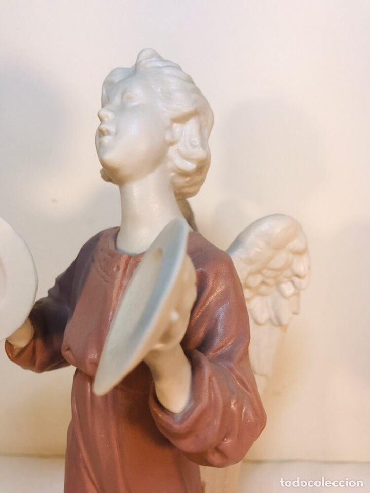 Antigüedades: Figura Porcelana-España- Algora - Angel músico Platillos- 23 cm - Foto 7 - 177775033