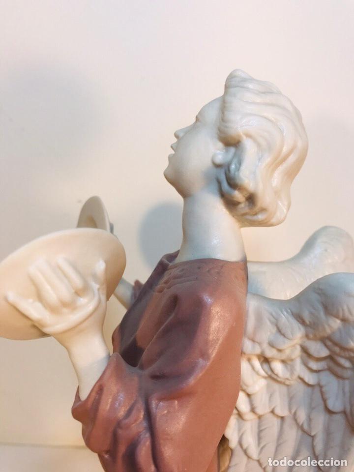 Antigüedades: Figura Porcelana-España- Algora - Angel músico Platillos- 23 cm - Foto 9 - 177775033