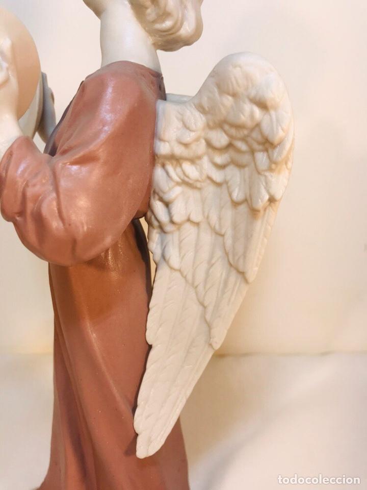 Antigüedades: Figura Porcelana-España- Algora - Angel músico Platillos- 23 cm - Foto 10 - 177775033