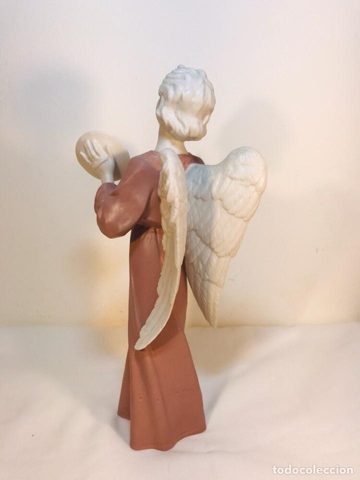 Antigüedades: Figura Porcelana-España- Algora - Angel músico Platillos- 23 cm - Foto 11 - 177775033